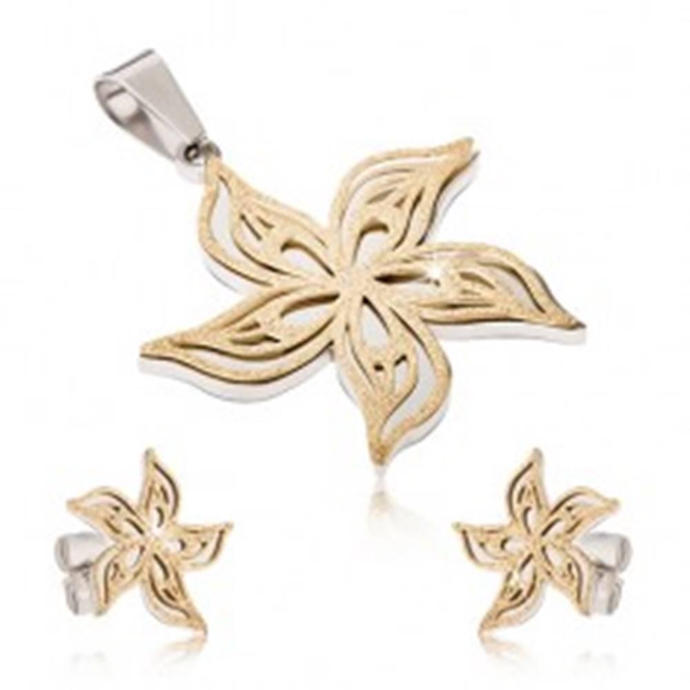 Šperky eshop Oceľový set - dvojfarebný prívesok a náušnice, pieskovaný zvlnený kvet