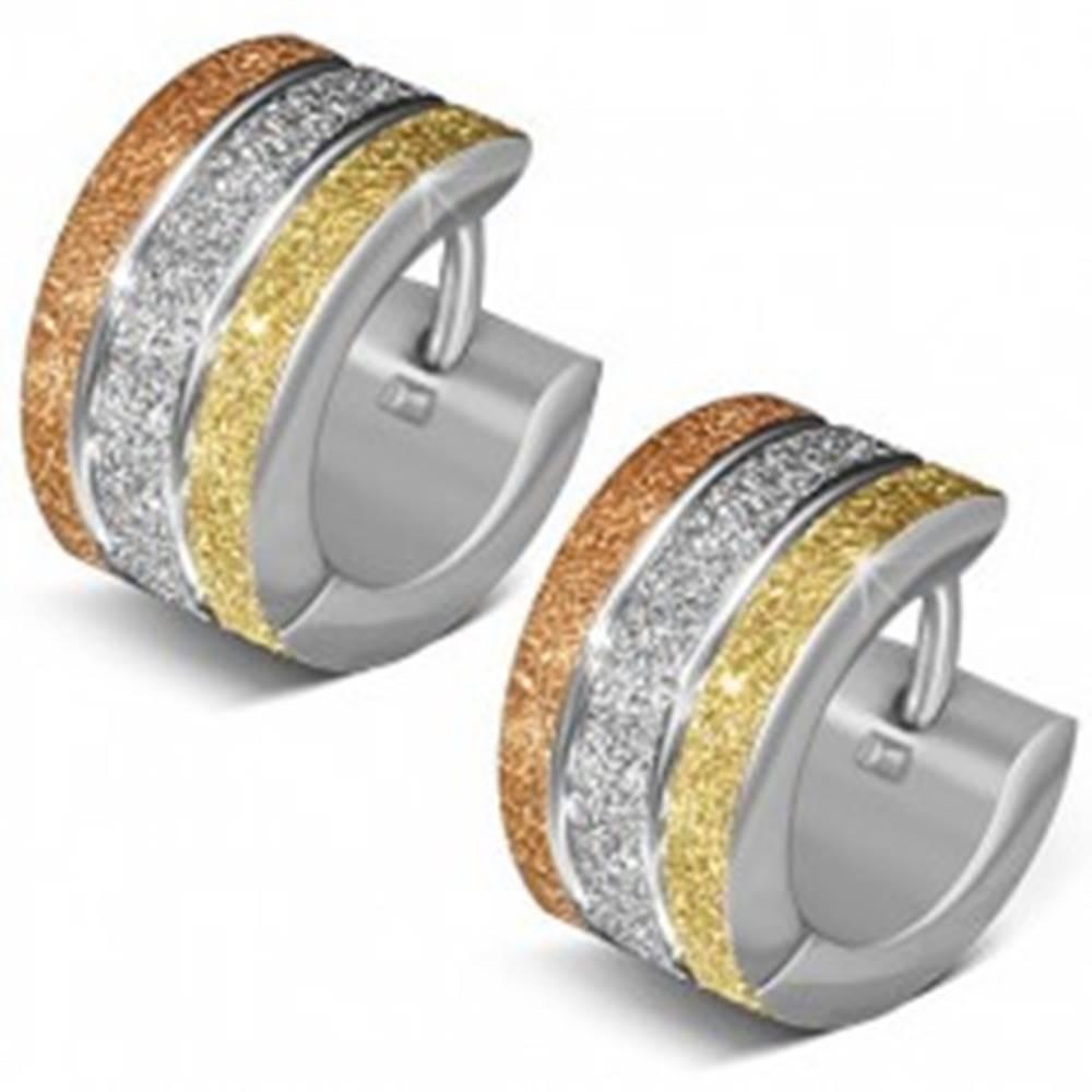 Šperky eshop Pieskované okrúhle náušnice z ocele, tri farebné pásy