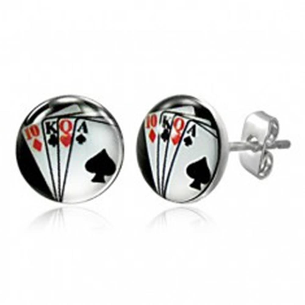 Šperky eshop Puzetové náušnice z ocele - hracie karty vo vejári, na čiernom pozadí