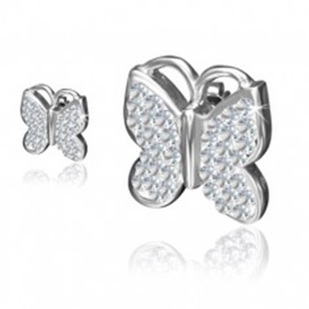 Šperky eshop Puzetové oceľové náušnice - motýľ, okrúhle zirkóny čírej farby
