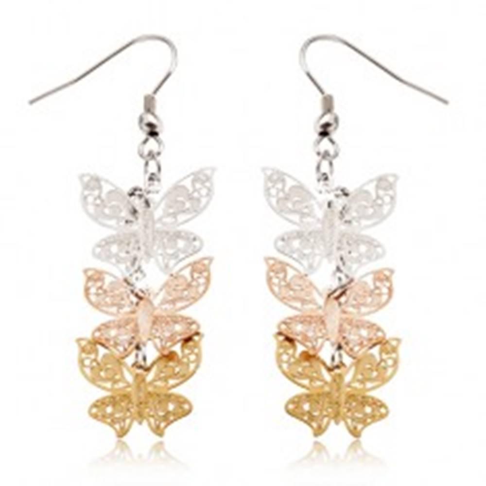 Šperky eshop Trojfarebné oceľové náušnice - visiace, ploché vyrezávané motýle