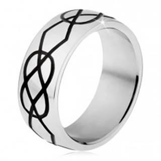 Lesklý oceľový prsteň, hrubšie čierne zárezy kosoštvorcov a sĺz - Veľkosť: 56 mm