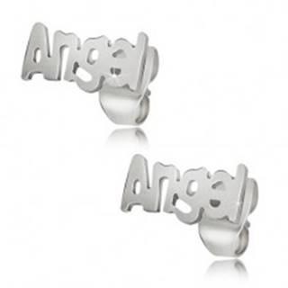 Oceľové puzetové náušnice striebornej farby, Angel