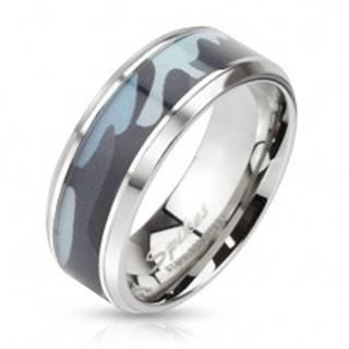 Oceľový prsteň so zeleným armádnym motívom - Veľkosť: 54 mm
