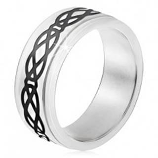 Oceľový prsteň, vyvýšený pás, motív sĺz a kosoštvorcov, hrubé línie - Veľkosť: 51 mm