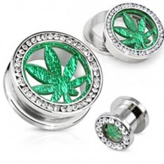 Oceľový tunel plug do ucha, číry zirkónový kruh, list marihuany - Hrúbka: 10 mm