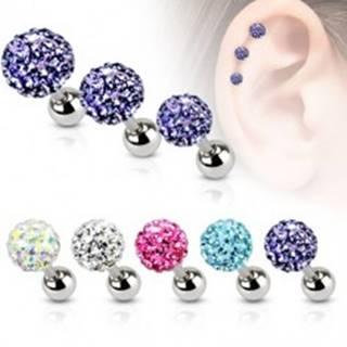 Piercing do ucha z ocele, farebná zirkónová gulička, 3 mm - Farba zirkónu: Aqua modrá - Q