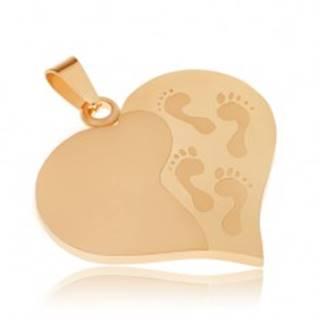Prívesok z ocele zlatej farby, súmerné srdce, gravírované odtlačky nôh
