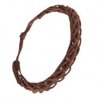 Šnúrkový náramok  - spletené čokoládovohedé motúze, motív stonožky