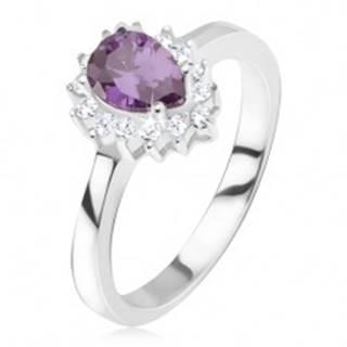 Strieborný prsteň 925 - fialový slzičkový kamienok, zirkónová obruba - Veľkosť: 50 mm