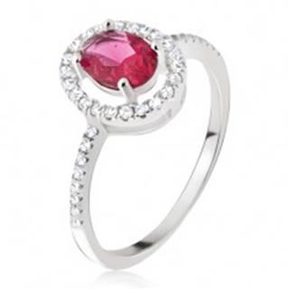 Strieborný prsteň 925 - oválny ružovočervený kamienok, zirkónová obruba - Veľkosť: 49 mm