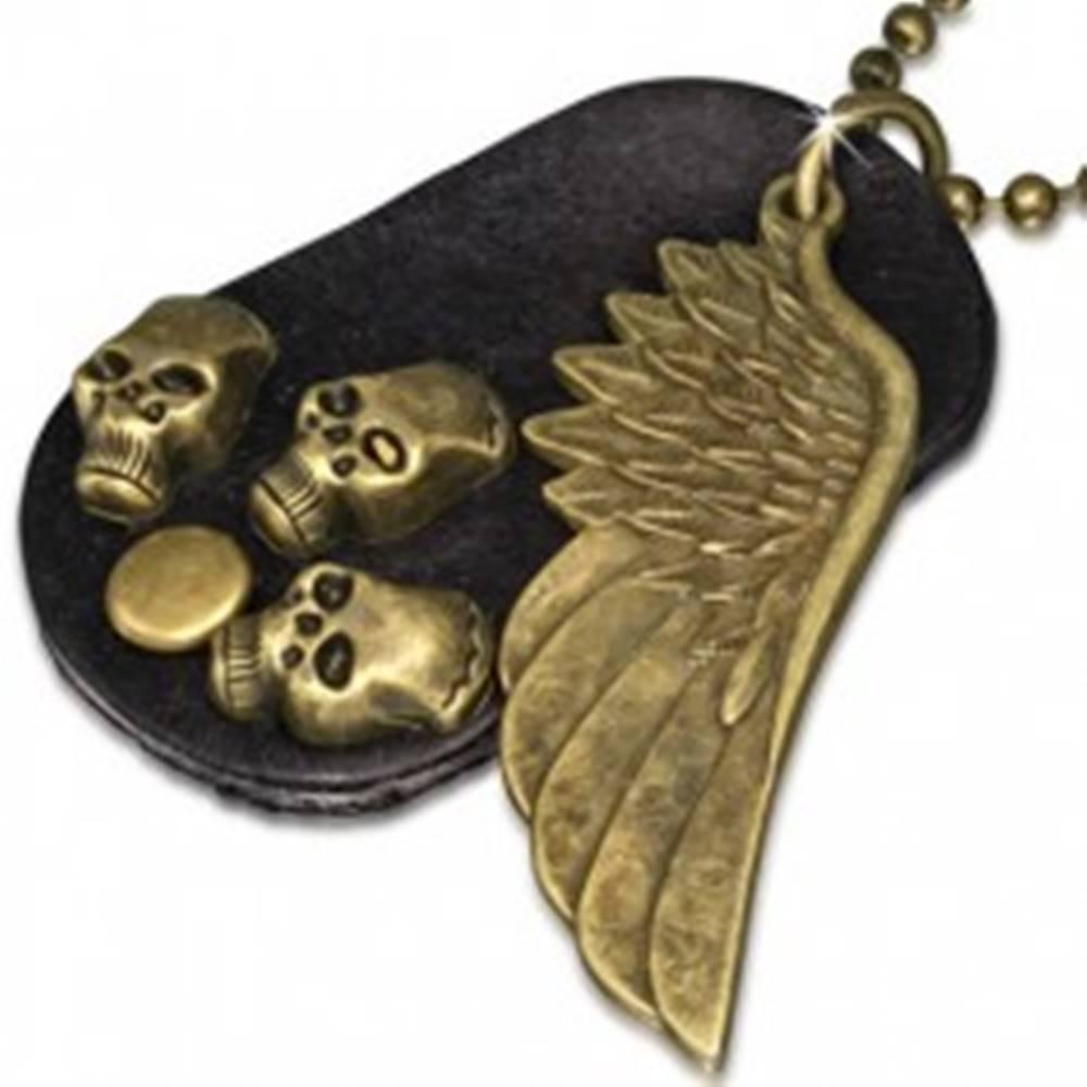 Šperky eshop Náhrdelník - hnedá kožená oválna známka, krídlo, lebky, retiazka