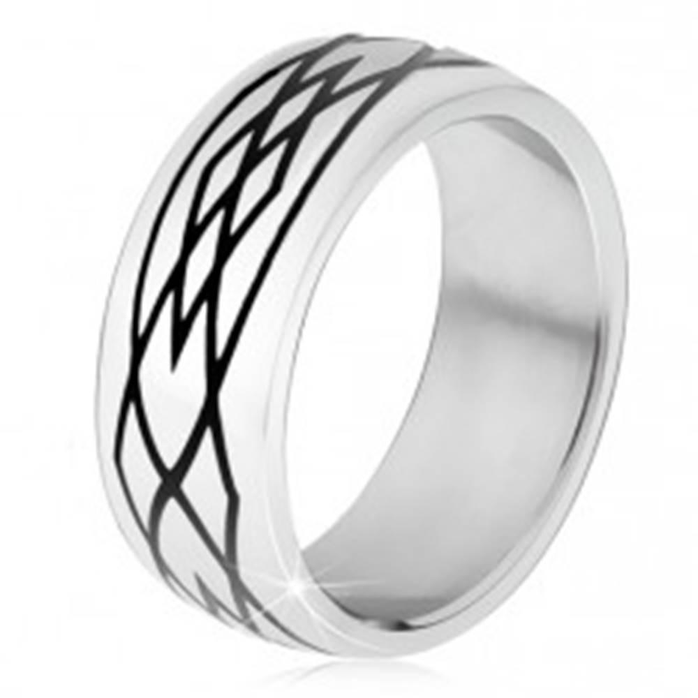 Šperky eshop Obrúčka z ocele 316L, zrkadlovolesklý povrch, čierny ornament - Veľkosť: 51 mm