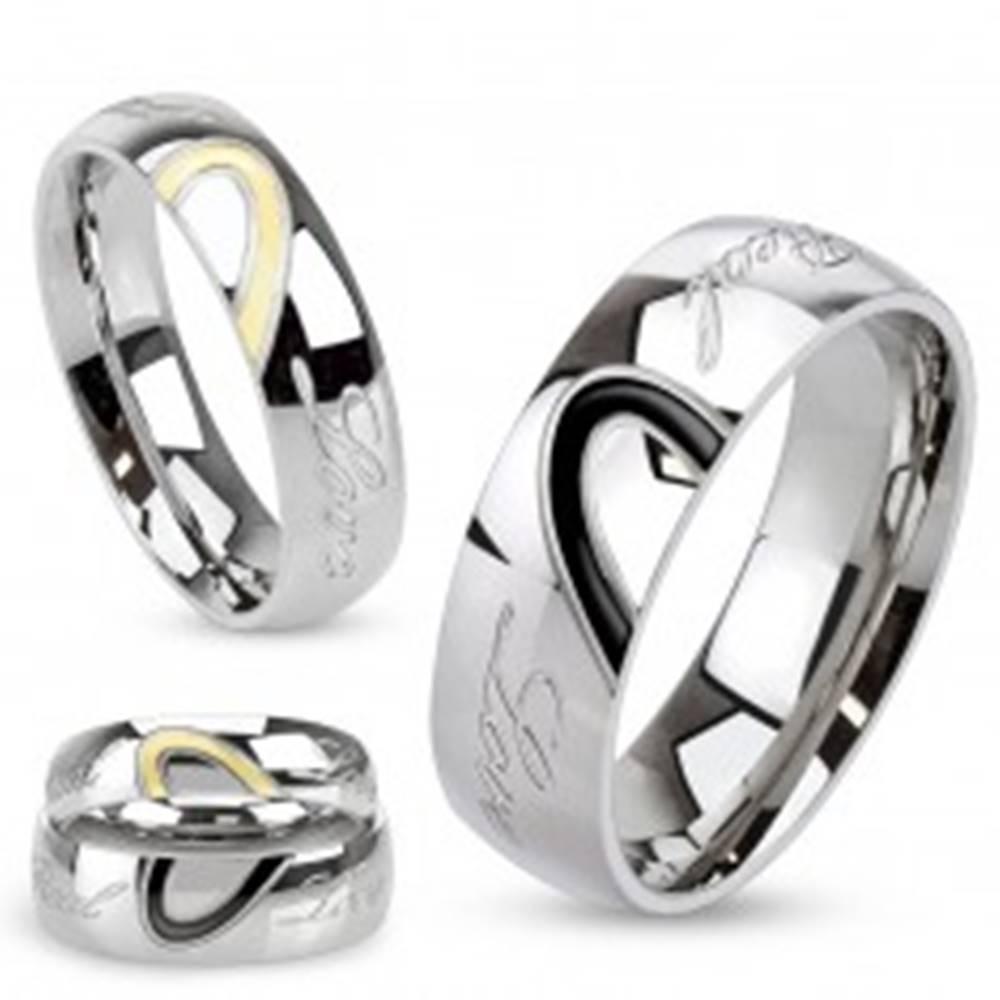 Šperky eshop Obrúčka z ocele, kontúra srdca, gravírovaný nápis Real Love - Veľkosť: 49 mm