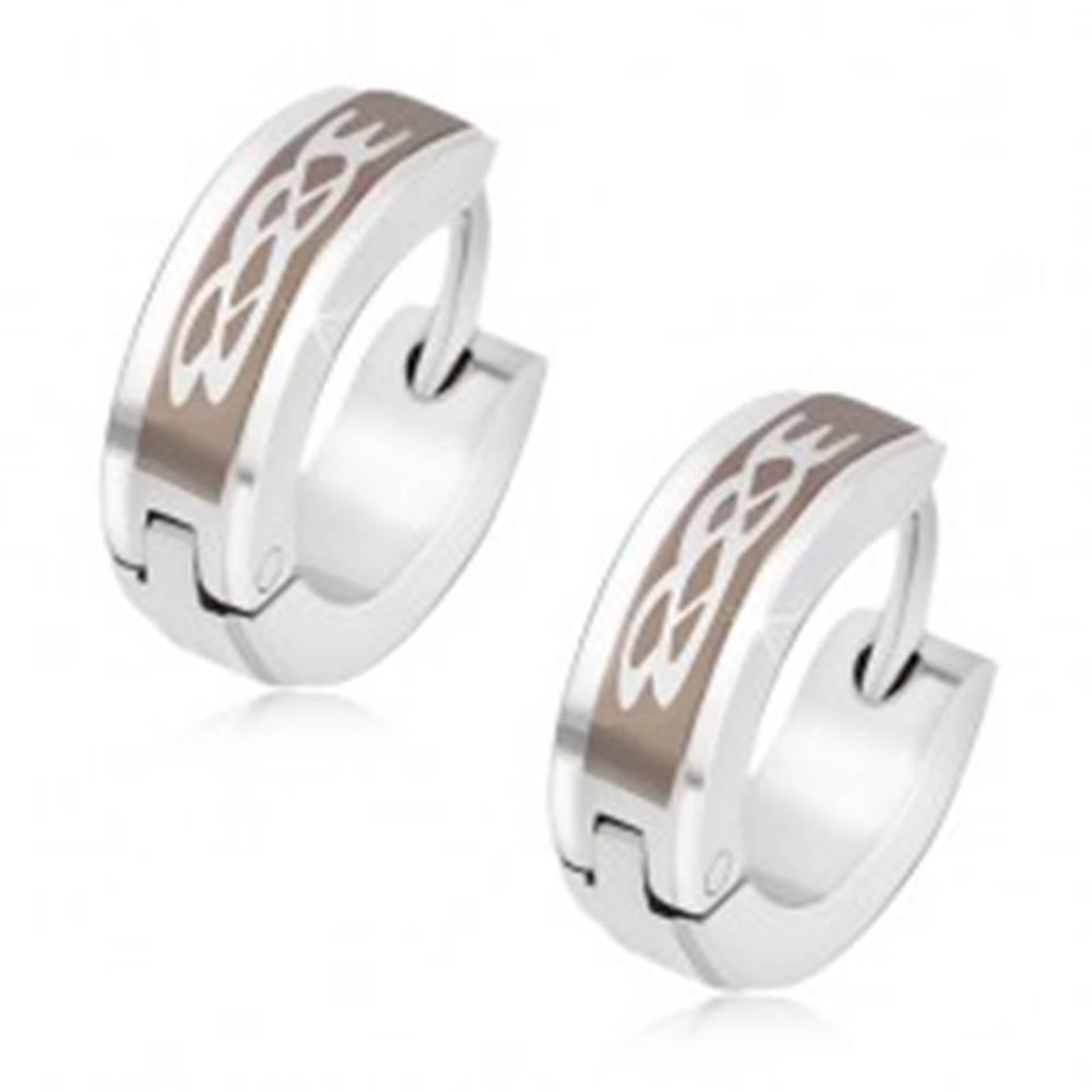 Šperky eshop Oceľové náušnice, kruhy s tribal ornamentom, vyvýšený stredový pás