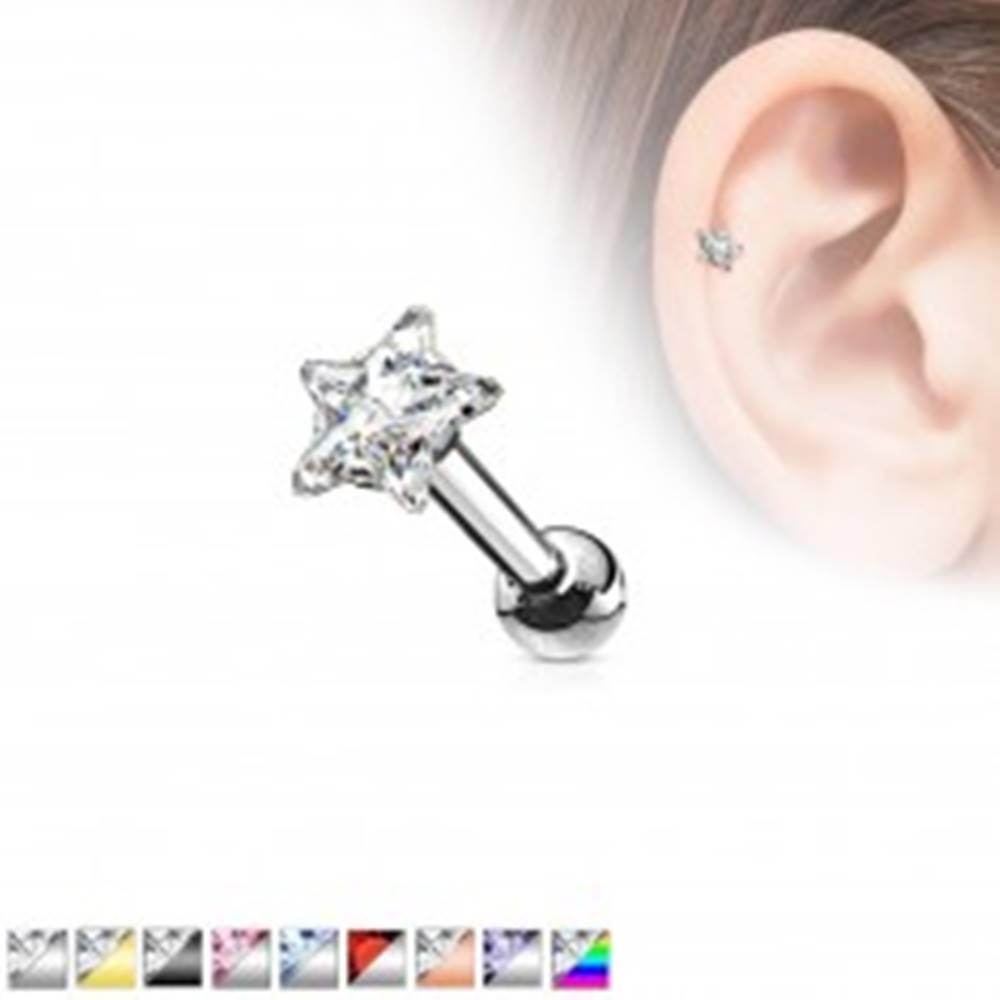 Šperky eshop Oceľový piercing do ucha, farebná zirkónová hviezda - Farba zirkónu: Aqua modrá - Q
