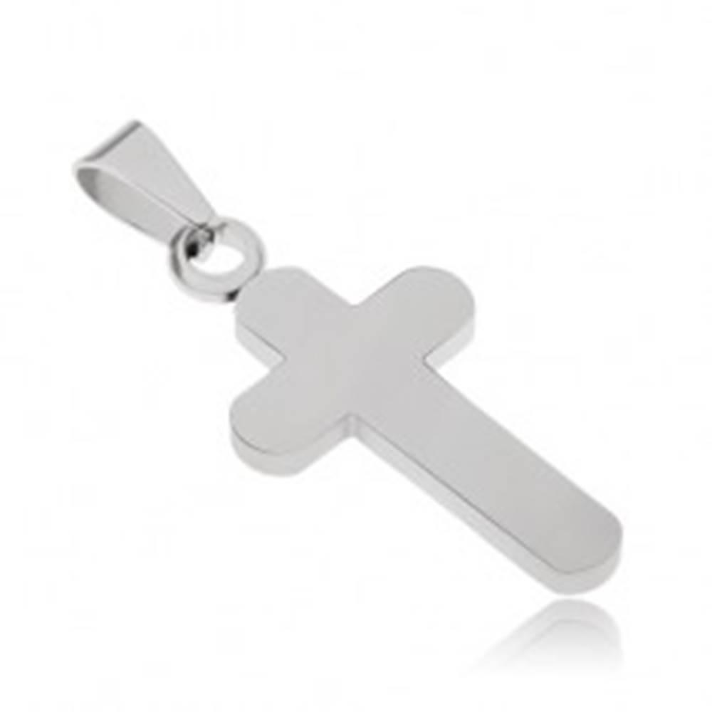 Šperky eshop Oceľový prívesok s matným povrchom, kríž striebornej farby