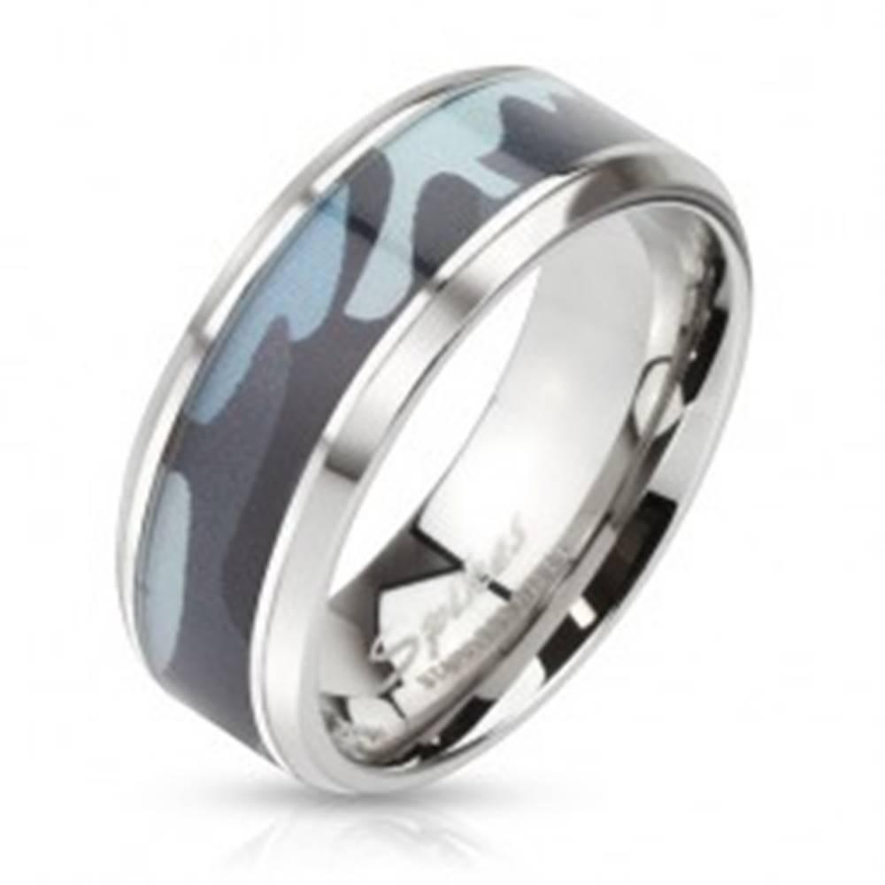 Šperky eshop Oceľový prsteň so zeleným armádnym motívom - Veľkosť: 54 mm