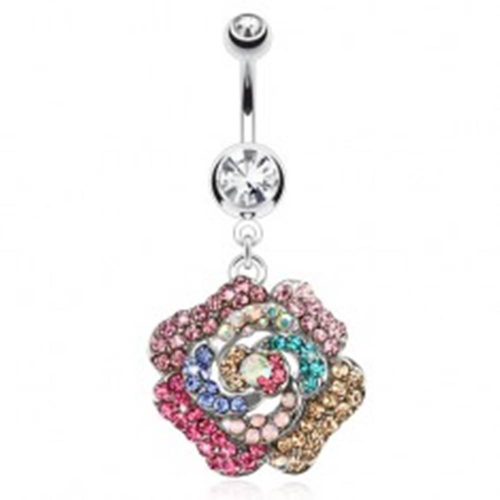 Šperky eshop Piercing do pupka z ocele, číry kamienok, farebný zirkónový kvet