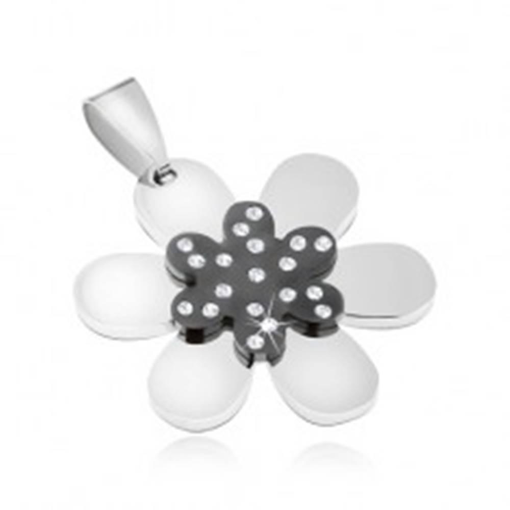 Šperky eshop Prívesok z ocele 316L - ligotavý dvojfarebný kvietok, číre zirkóny