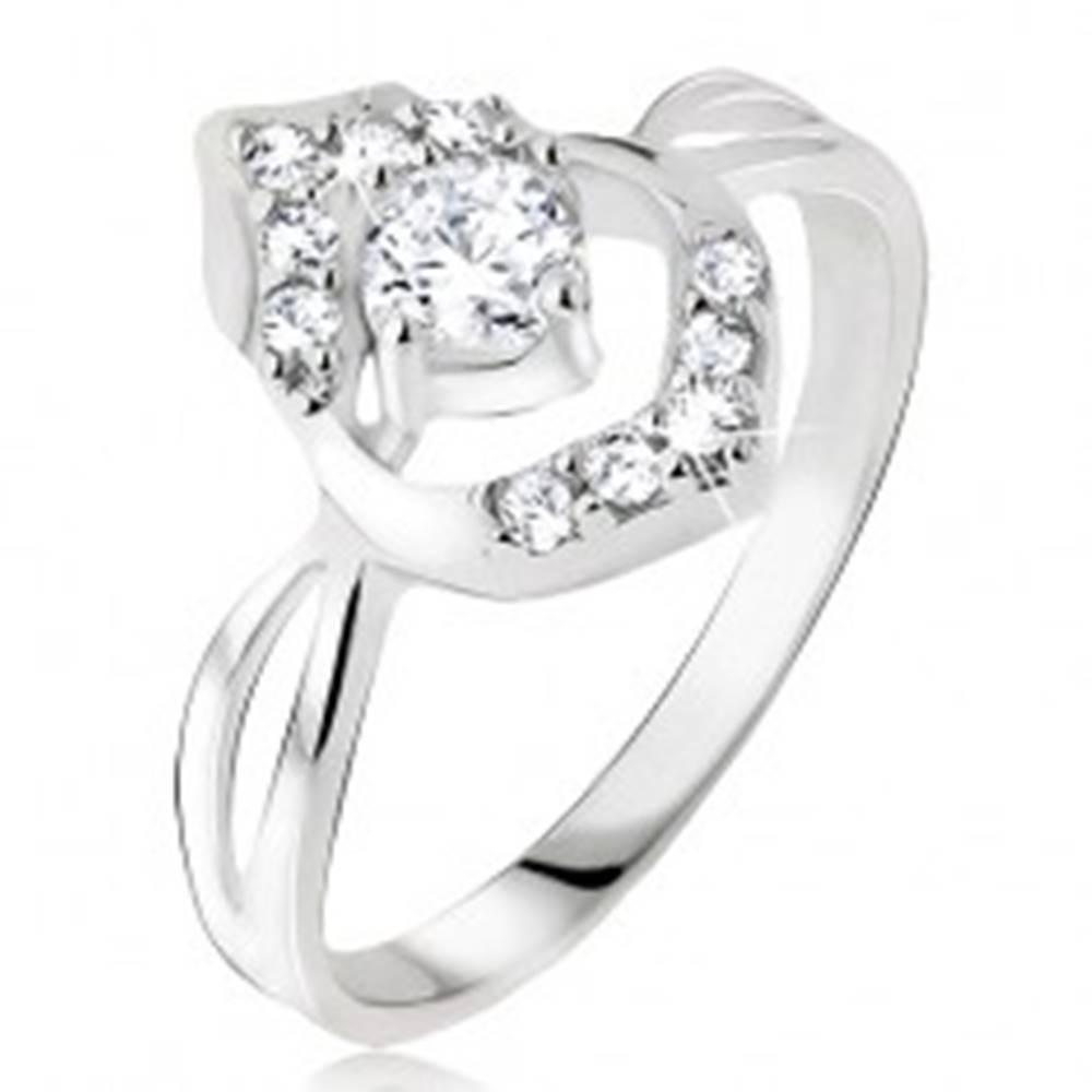 Šperky eshop Prsteň - okrúhly číry zirkón v púčiku, striebro 925 - Veľkosť: 49 mm