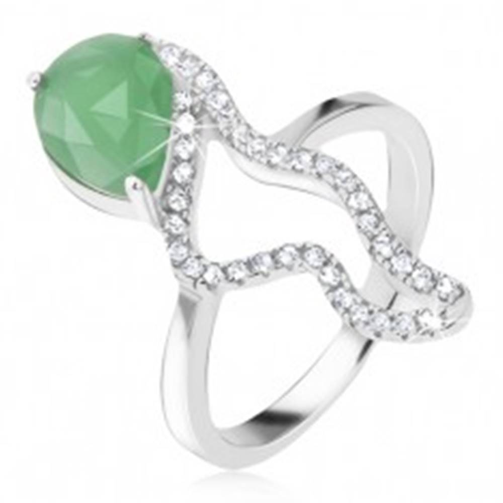 Šperky eshop Prsteň zo striebra 925 - zelený slzičkový kameň, morský koník - Veľkosť: 48 mm