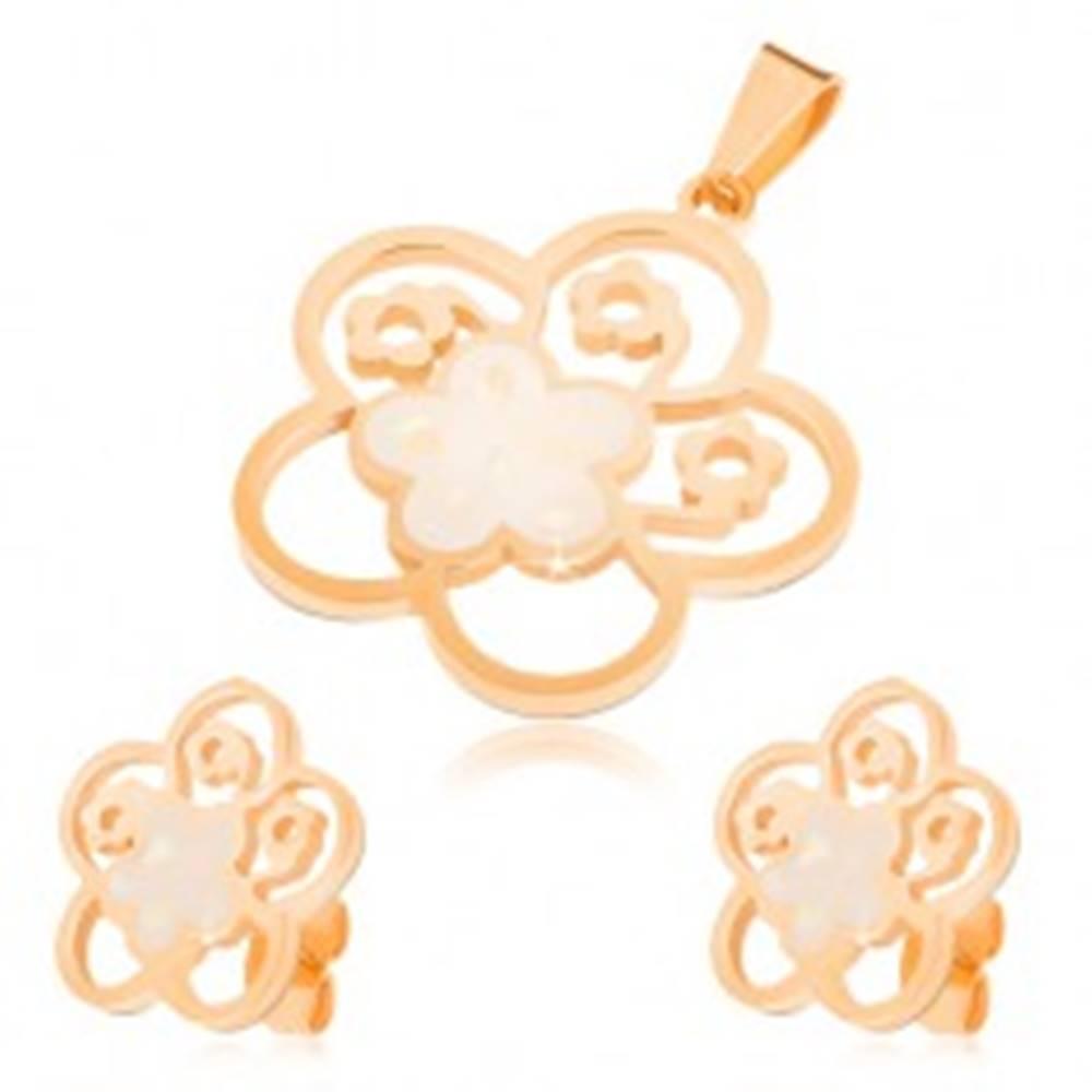 Šperky eshop Set z ocele zlatej farby, náušnice a prívesok, vyrezávaný kvet s perleťou