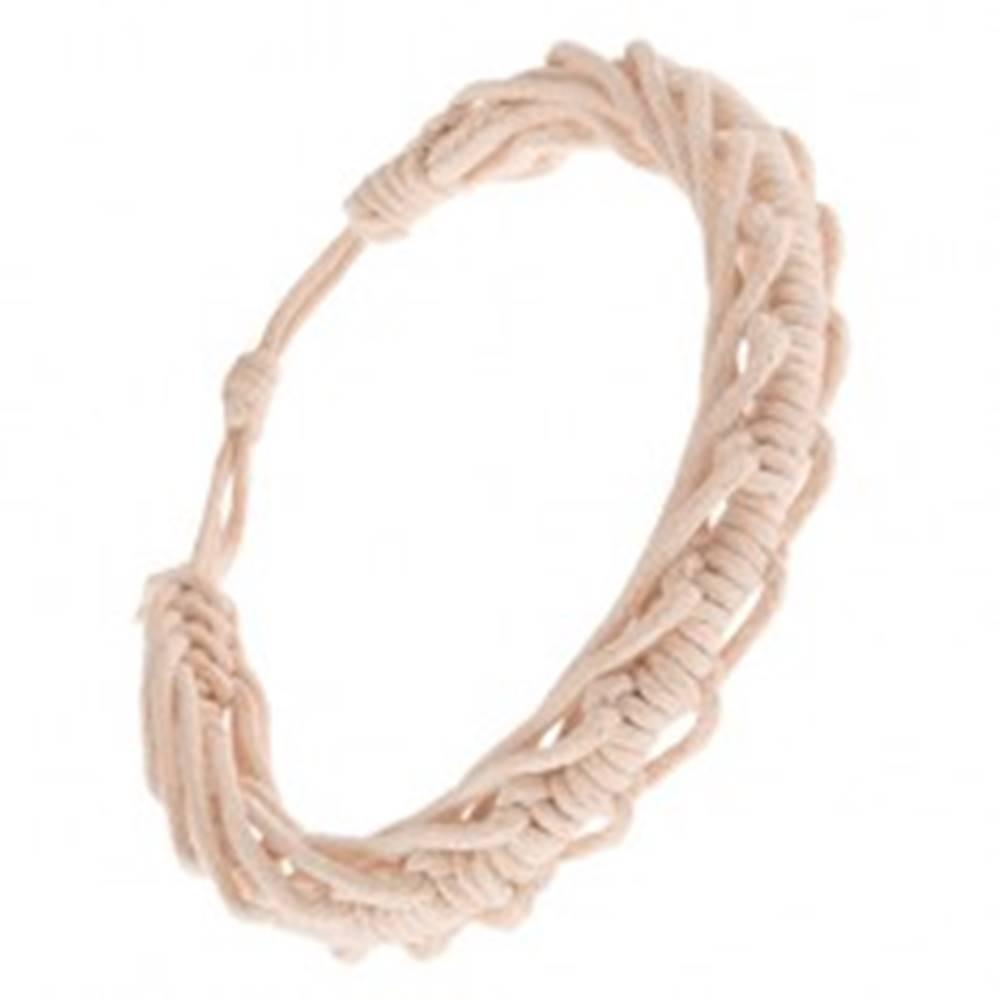 Šperky eshop Šnúrkový náramok - zapletané béžové motúziky, motív stonožky