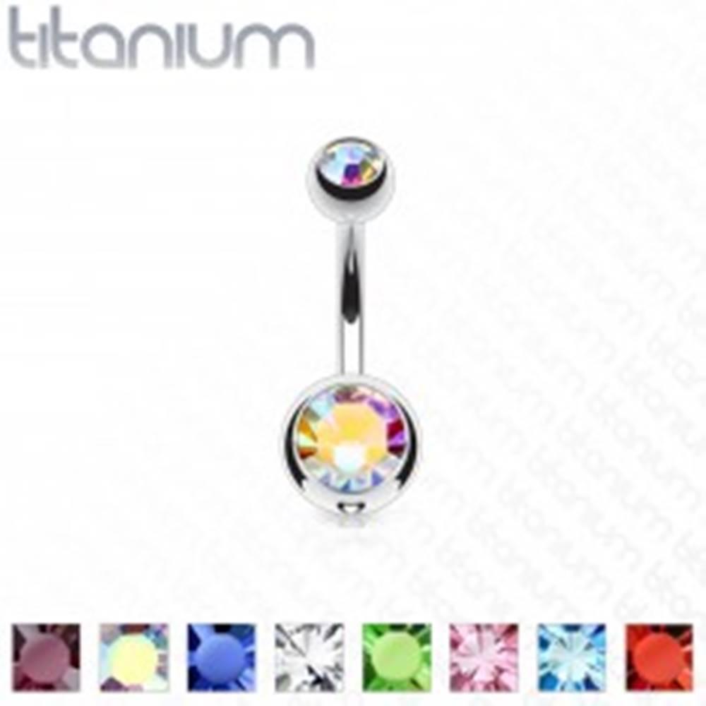 Šperky eshop Titánový piercing do pupka s dvomi farebnými kamienkami, dĺžka 10 mm - Farba piercing: Aqua