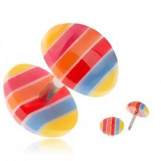 Akrylový fake plug do ucha - žlté, modré, červené a oranžové pruhy