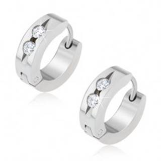 Kruhové oceľové náušnice, žliabok s dvomi čírymi kamienkami