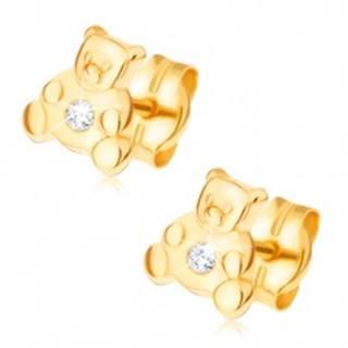 Náušnice v žltom 14K zlate - malý sediaci medvedík, číry zirkón