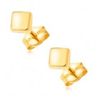 Náušnice zo žltého 14K zlata - zrkadlovolesklé hladké štvorce, puzetky