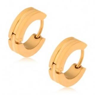 Oceľové náušnice zlatej farby, kruhy so širším žliabkom uprostred