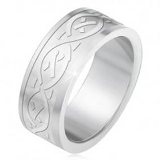 Oceľový prsteň, matný gravírovaný pás s keltským motívom - Veľkosť: 55 mm