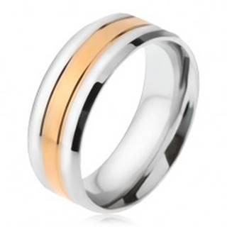 Oceľový prsteň, pásy striebornej a zlatej farby, zošikmené okraje - Veľkosť: 56 mm