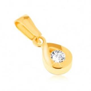 Prívesok zo žltého 14K zlata - ligotavá kontúra slzy, okrúhly číry kamienok