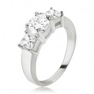 Prsteň, okrúhly zirkón, štvorcové kamienky po stranách, striebro 925 - Veľkosť: 48 mm