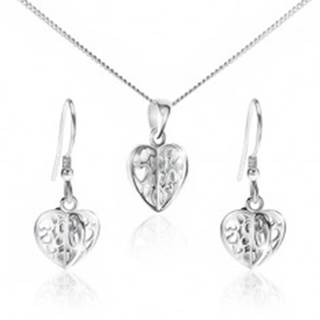 Set zo striebra 925 - náhrdelník a náušnice, vyrezávané srdcia