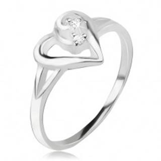 Srdiečkový prsteň, obrys asymetrického srdca, číre kamienky, striebro 925 - Veľkosť: 49 mm