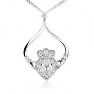 Strieborný náhrdelník 925, retiazka, srdce, korunka, ruky, číre zirkóny