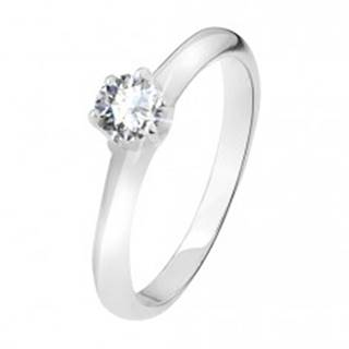 Strieborný prsteň 925, číry zirkón v kalíšku so šiestimi kolíčkami - Veľkosť: 49 mm