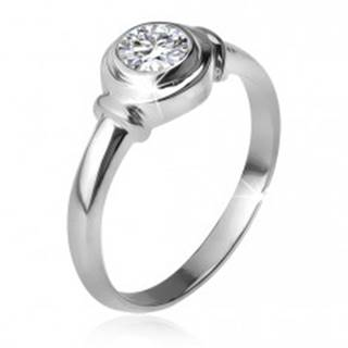 Strieborný prsteň 925, okrúhla objímka so zirkónom, dve obrúčky - Veľkosť: 48 mm