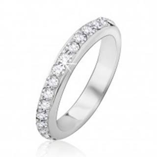 Strieborný prsteň 925 so vsadenými čírymi kamienkami - Veľkosť: 48 mm