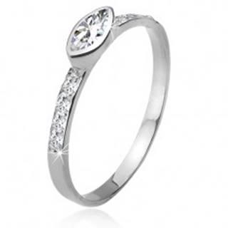 Zirkónový prsteň, kamienkové ramená, elipsovitý kamienok, striebro 925 - Veľkosť: 49 mm
