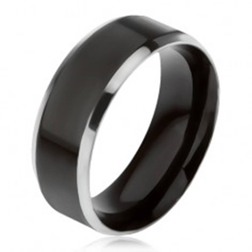Šperky eshop Čierna obrúčka z ocele 316L, šikmé okraje striebornej farby - Veľkosť: 56 mm