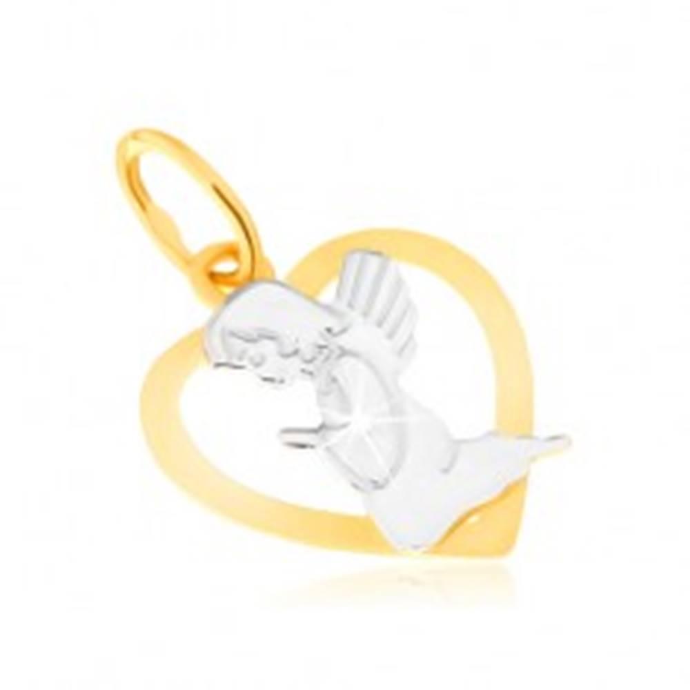 Šperky eshop Dvojfarebný prívesok zo zlata 14K - kontúra pravidelného srdca, modliaci sa anjel