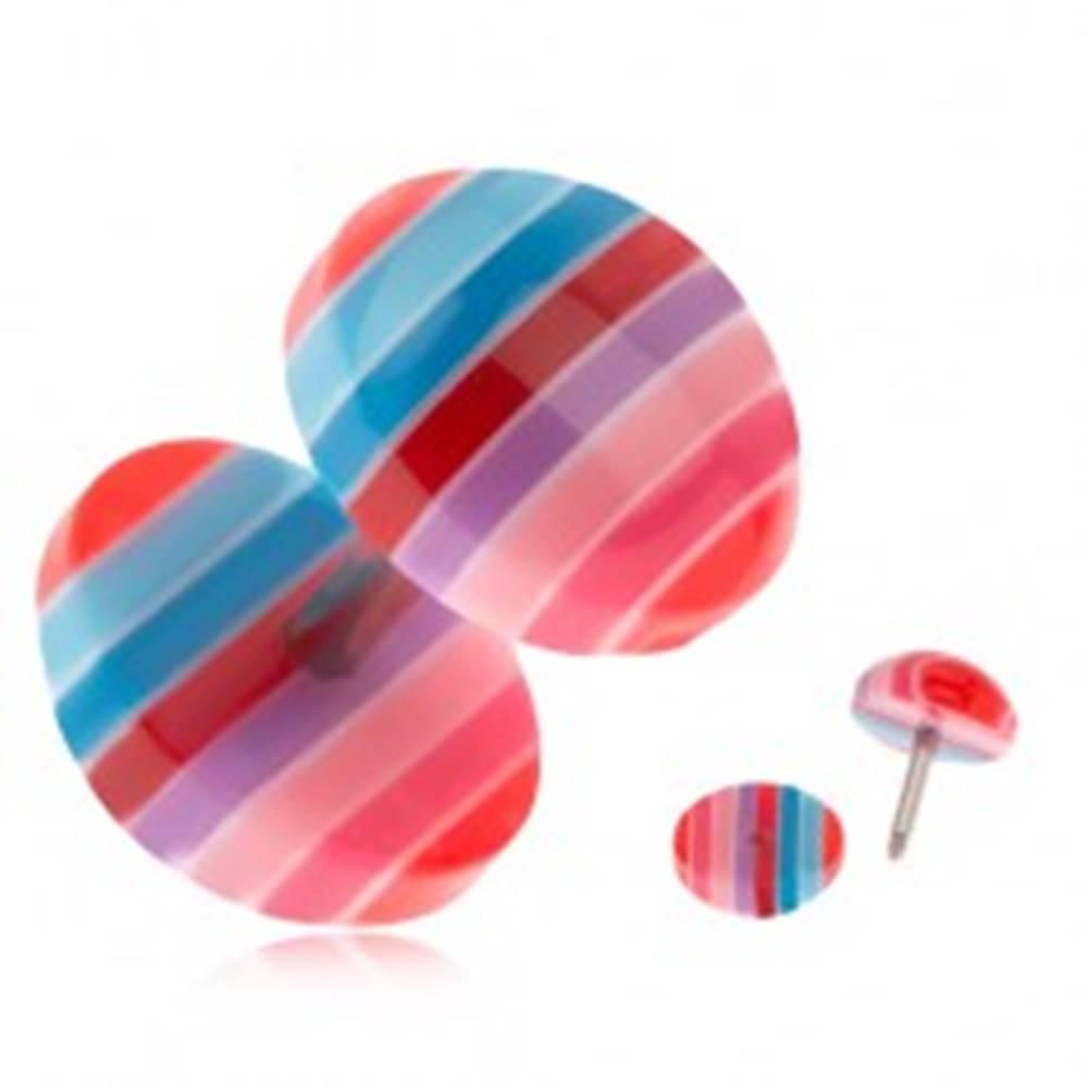 Šperky eshop Falošný plug do ucha z akrylu - modré, červené a ružové pruhy