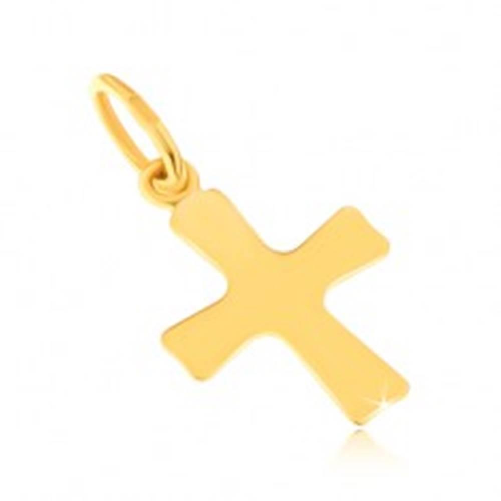 Šperky eshop Lesklý prívesok zo žltého 14K zlata - plochý malý kríž, mierne sa rozširujúce ramená
