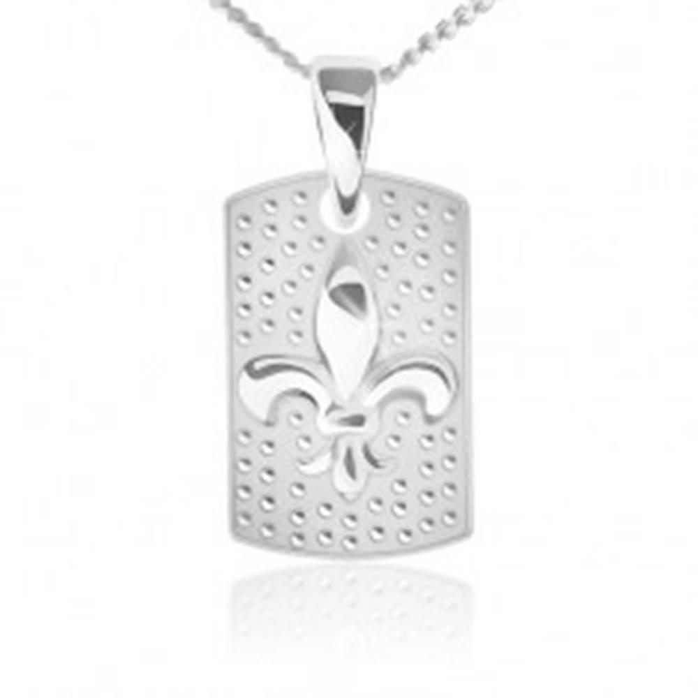 Šperky eshop Náhrdelník - retiazka a obdĺžniková známka, Fleur de Lis, striebro 925